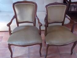 Neobarokk stílusú karfás székek , halvány zöld kárpittal / 2 db /
