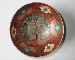 Régi, indiai, kézzel festett, színes, pávamintás, tömör réz kínálótál kínáló tál