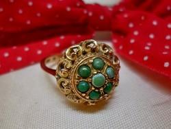 Gyönyörű régi kézműves türkizköves arany gyűrű