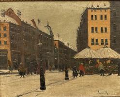Czakó Rezső Budapest Rákóczi út 1920 körül 70x60cm olajfestménye EREDETI Garanciával !!