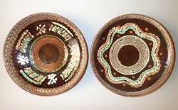 2 db különleges mázas cserép falitányér tányér - Stefan Mischia (Horezu város) -gyűjtői darabok