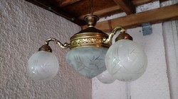 """3ágú antik réz csillár lámpa felújítva """"lapu-leveles"""""""