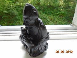 Fekete márvány-antik kínai öreg Bölcs és őz szobor-19 cm