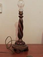 Díszes fa asztali lámpatest, új vezetékkel