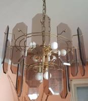 Csiszolt lapokból álló retro csillár és falilámpa - együtt
