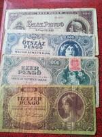 1945-ös 100-10000 Pengő sor