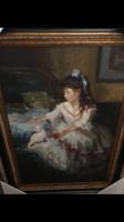Kislány macskával olaj-vászon festmény