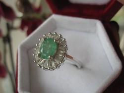 Természetes SMARAGD 925 antik ezüst gyűrű