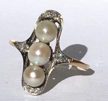 Szecessziós 14 K Arany Gyűrű Gyémánt Gyöngy Antik