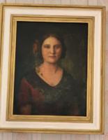 Női portré olajfestmény a XIX sz. végéről