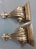 Faragott barokkos 2db aranyozott falikonzol