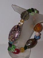 Smaragd, Rubin, Citrin , Gránát és Muránói üveg karkötő.