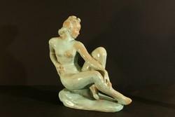 1930. Komlós Kerámia Női Akt 27x30x12 Zöld Szobor Figura Hibátlan