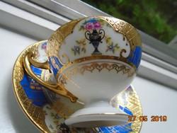 1930 Újszerű(!) Empire aranybrokát királykékkel,talpas kávés csésze alátéttel Royal EPIAG