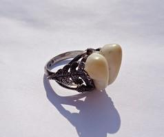 Régi ezüst vadász gyűrű őz fogakkal