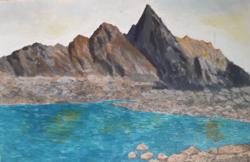 Szlovák festő: Tátrai részlet tengerszemmel
