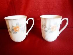 2 db gyönyörű jelzett porcelán teás bögre, csésze virág mintával