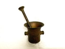 Hatalmas antik bronz mozsár, 4,2 kg. 16 cm.