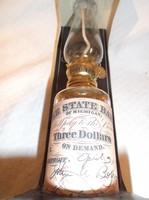 Olajlámpás Vintage - Amerikai + palack olajjal + kanóc - 26 x 6 cm olajtartály 2dl - nem használt