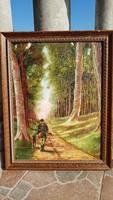 Neogrády A. jelzésű: Festmény, tájkép, olaj, selyem vászon. Erdőkerülő, vadőr