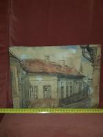 Öreg, és mesteri utcakép, akvarell