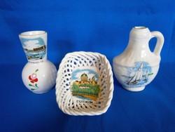 Bodrogkeresztúri áttört kerámia tálka Esztergom, váza Velencei-tó, korsó Balaton