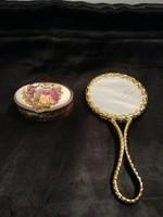 1,-Ft Gyönyörű festett porcelán betétes tükör és szelence egyben!
