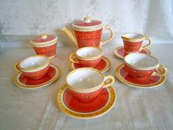 4 személyes kézzel festett kerámia majolika különleges kávés készlet új!