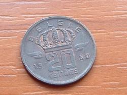 BELGIUM BELGIE 20 CENTIMES 1950 (60?) BÁNYÁSZ