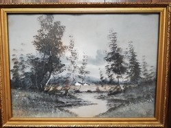 Hangulatos őszi tájkép, folyópart fákkal, karton akvarell, aranyozott keretben, üvegezve.