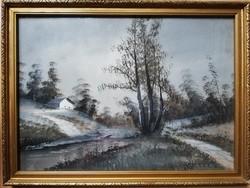 Téli tájkép, karton akvarell, aranyozott keretben, üvegezve.