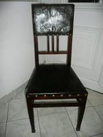 Réz veretes, réz papucsos antik szecessziós bőr szék nagyon stabil állapotban