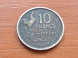 FRANCIA 10 FRANK FRANCS 1951 KAKAS