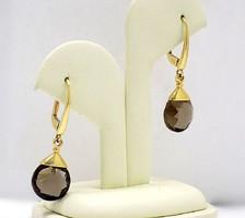 Arany fülbevaló füstkvarccal (ZAL-Au76786)