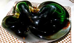 Súlyos vastag zöld üveg hamutál