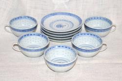 5 db rizsmintás csésze és alj  ( DBZ 0018 )