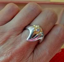 Gyönyörű design ezüst gyűrű arany ezüst