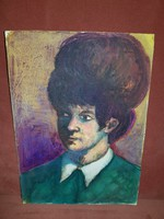 Kiváló színvilágú portré, vegyes technikával