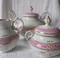 Antik biedermeier 3 db-os kézzel festett teás tálaló készlet