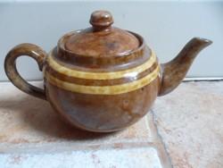 Art deco porcelán kávé kiöntő barna dupla drapp csíkozással