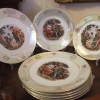 Kahla 6 személyes tányér készlet. Szerelmi jelenetes, irizáló hatású