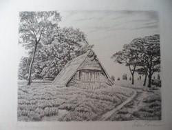 Tájkép kunyhóval rézkarc 30x24 cm keret nélkül