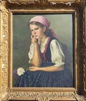 Rezes Molnár László / Kislány virággal