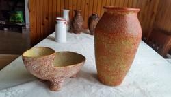 Gorka  repesztett mázzal bevont retro váza, asztali dísztárgy eladó!