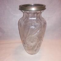 Régi ólomkristály váza fém peremmel , 21 cm