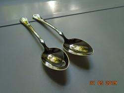 2 db Berndorf ezüstözött polírozott alpaka teás kanál