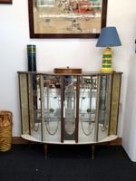 Üveges, tükrös vitrin, bárszekrény, 1960-as évek