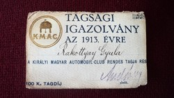 Régi Ritka Magyar Királyi Automobil Club Tagsági Igazolvány 1913