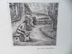 Farkas Rozália rézkarc falurészlet padon ülő asszony 25x35 cm keret nélkül