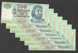 """200 forint 2001. """"FC""""!!  7 db sorszám követő! UNC!!"""